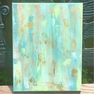 Accessories - Metallic Gold, Green, and Blue Abstract Painting